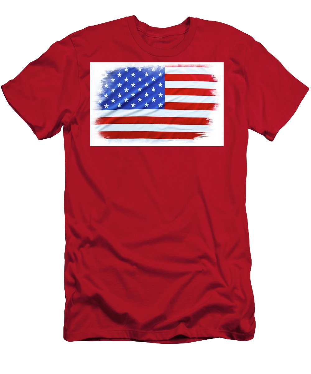 Flag Men's T-Shirt (Athletic Fit) featuring the photograph Usa Flag by Les Cunliffe