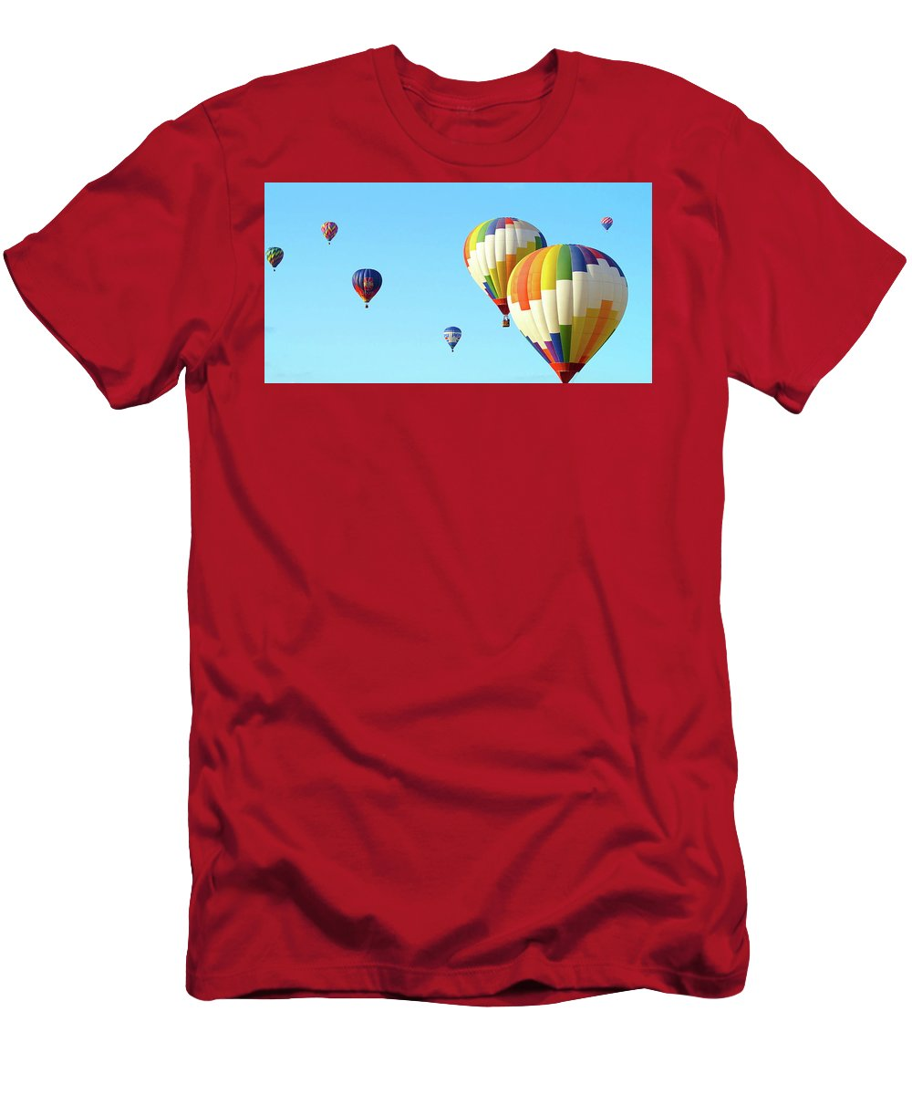 Balloons Men's T-Shirt (Athletic Fit) featuring the photograph 7 Balloons by Linda Cupps