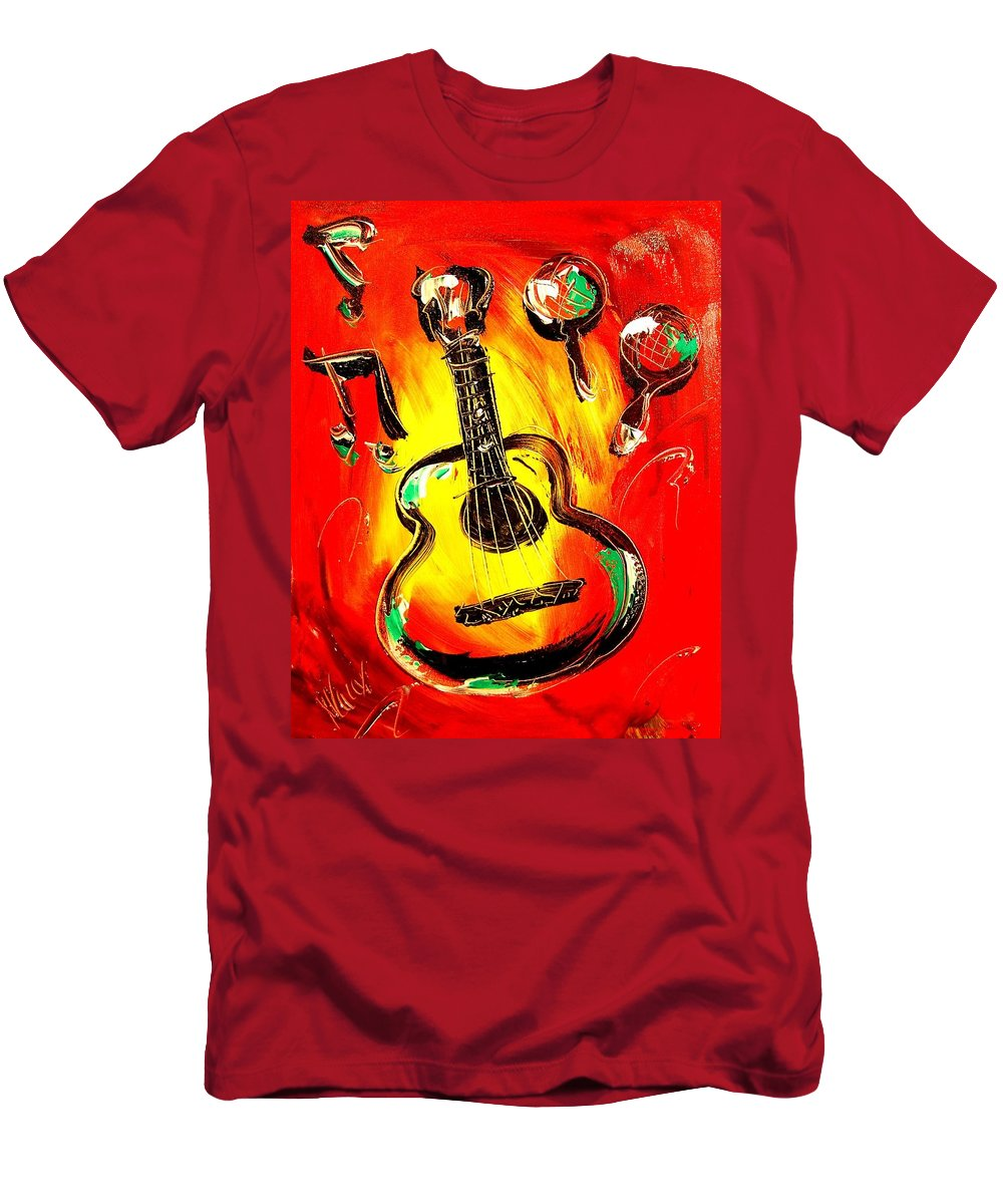 Impressionist Framed Prints Men's T-Shirt (Athletic Fit) featuring the mixed media Guitar by Mark Kazav