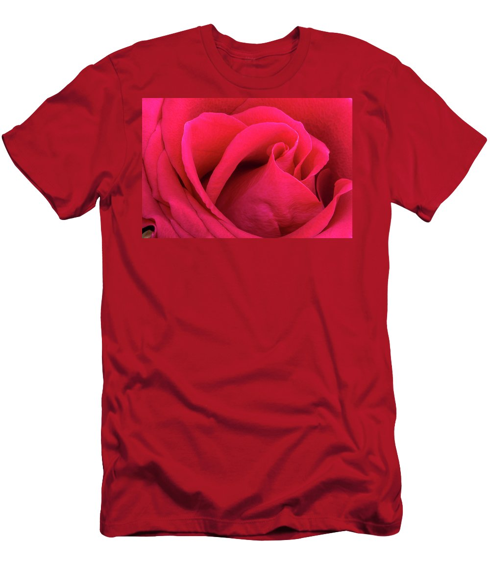 Flower Men's T-Shirt (Athletic Fit) featuring the photograph A Bright Pink Rose Close-up by Iordanis Pallikaras
