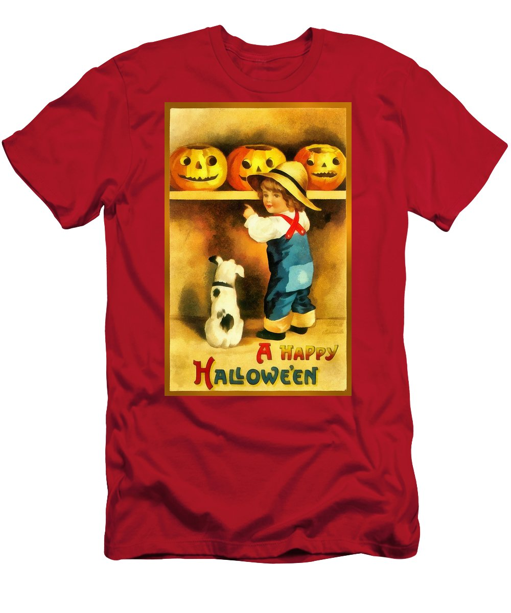 A Happy Halloween Puppu]y Men's T-Shirt (Athletic Fit) featuring the photograph A Happy Halloween Puppy by Unknown