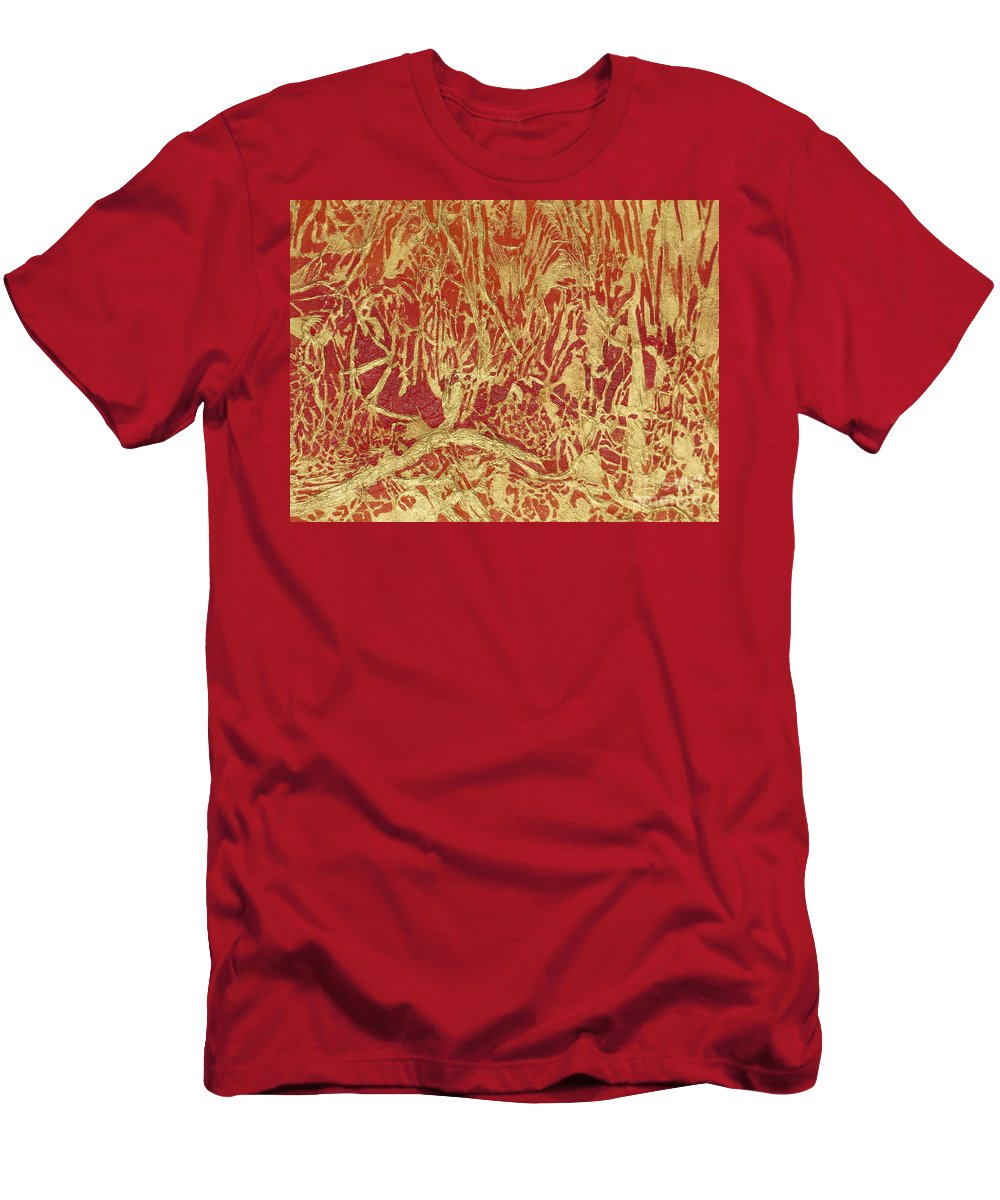 Abstract Men's T-Shirt (Athletic Fit) featuring the painting Abstract In Gold by Dan Whittemore