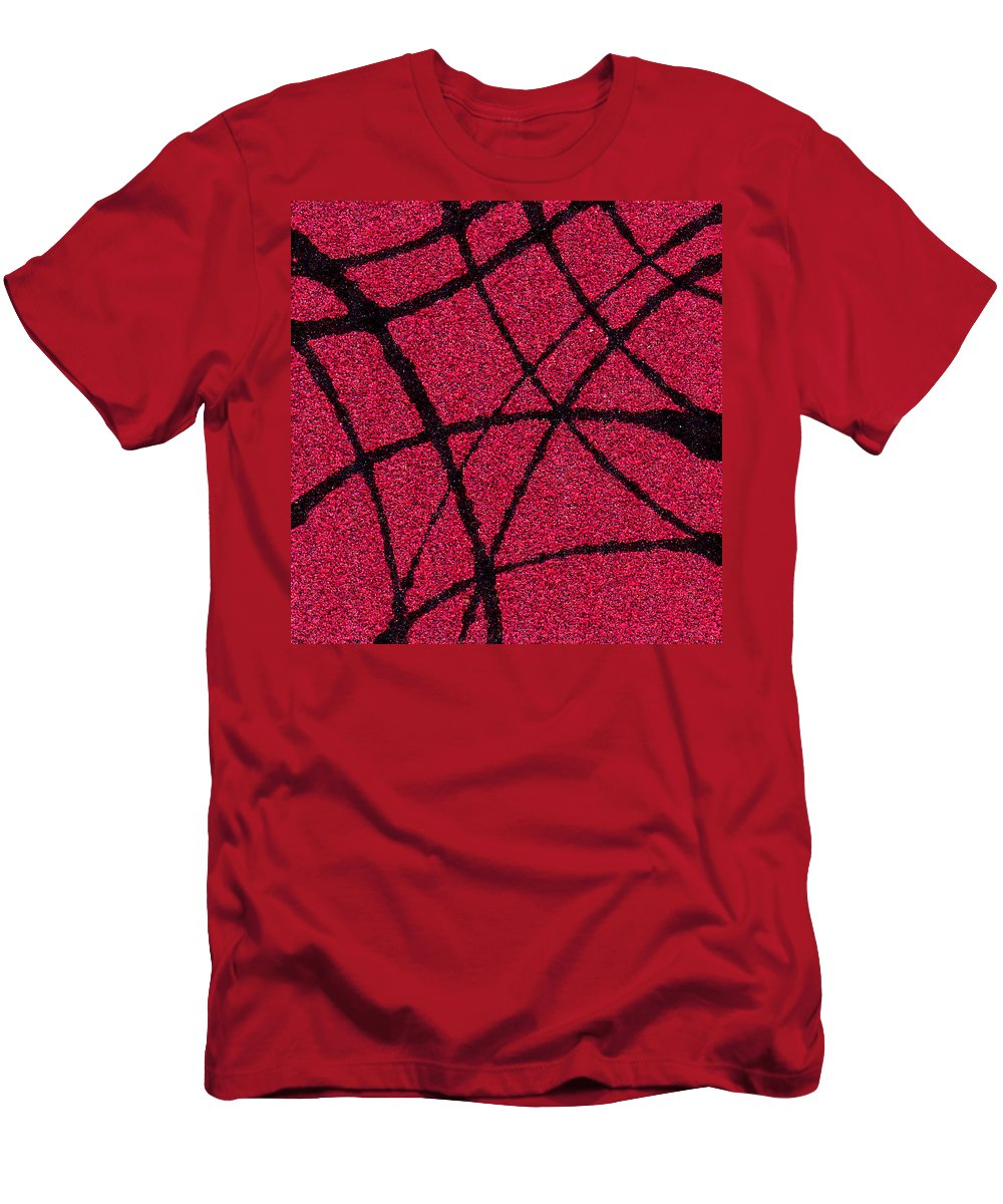 Abstract Men's T-Shirt (Athletic Fit) featuring the painting Abstract In Red And Black by Wayne Potrafka
