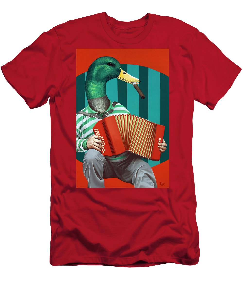 Acrylic Men's T-Shirt (Athletic Fit) featuring the painting Accordion To This by Kelly Jade King