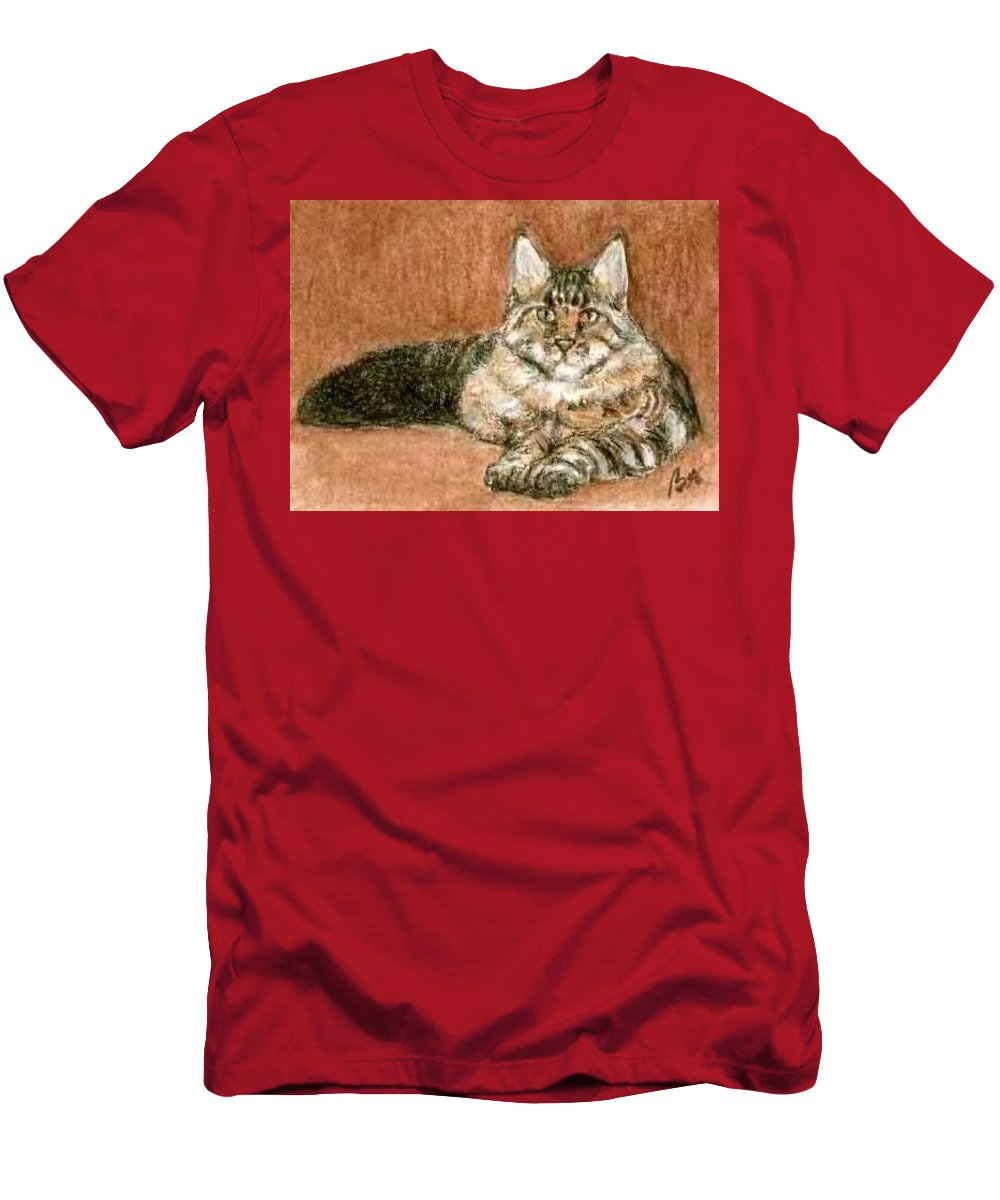 Aceo Cat Maine Coon Bruce Lennon Art Men's T-Shirt (Athletic Fit) featuring the painting Aceo Maine Coon Cat by Bruce Lennon