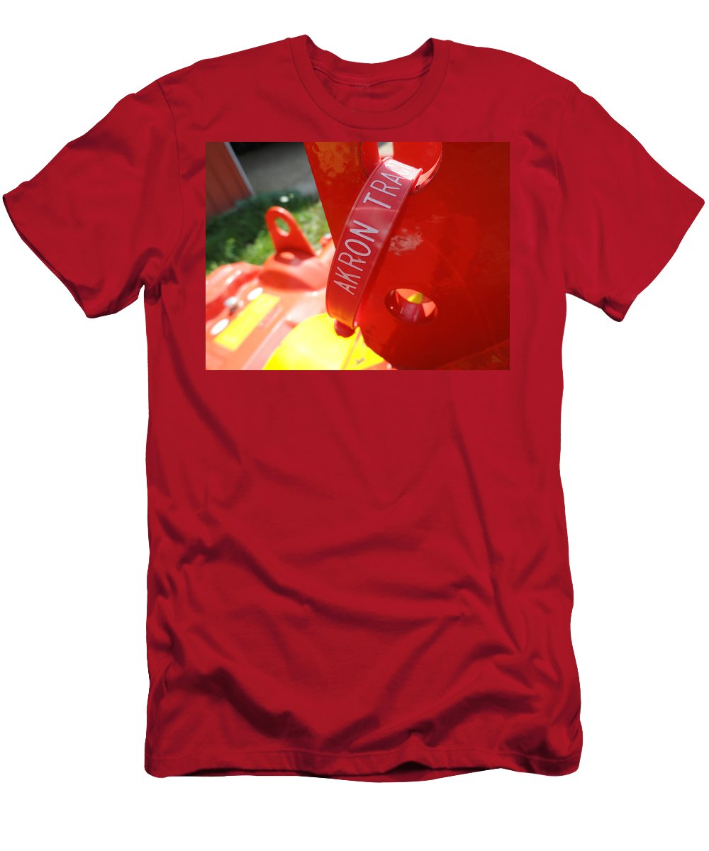 Red Men's T-Shirt (Athletic Fit) featuring the photograph Akron Tractor by Trish Hale