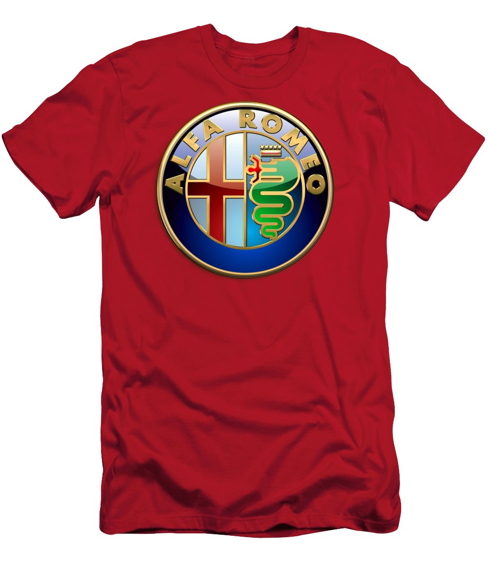 Wheels Of Fortune By Serge Averbukh T-Shirt featuring the photograph Alfa Romeo - 3d Badge on Red by Serge Averbukh