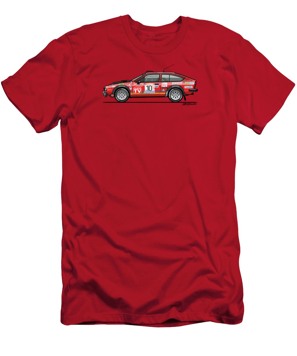 Alfa Romeo Men's T-Shirt (Athletic Fit) featuring the digital art Alfetta Gtv Turbodelta Jolly Club Fia Group 4 1980 Sanremo Rallye by Monkey Crisis On Mars
