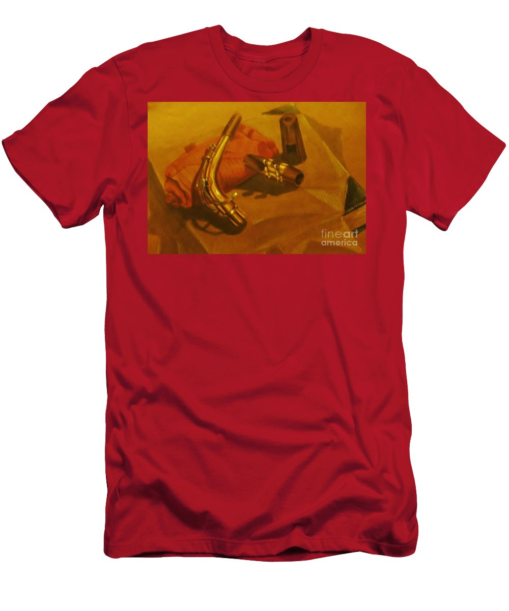 Still Life Men's T-Shirt (Athletic Fit) featuring the drawing Alto Saxophone Neck And Mouthpiece by Jamey Balester