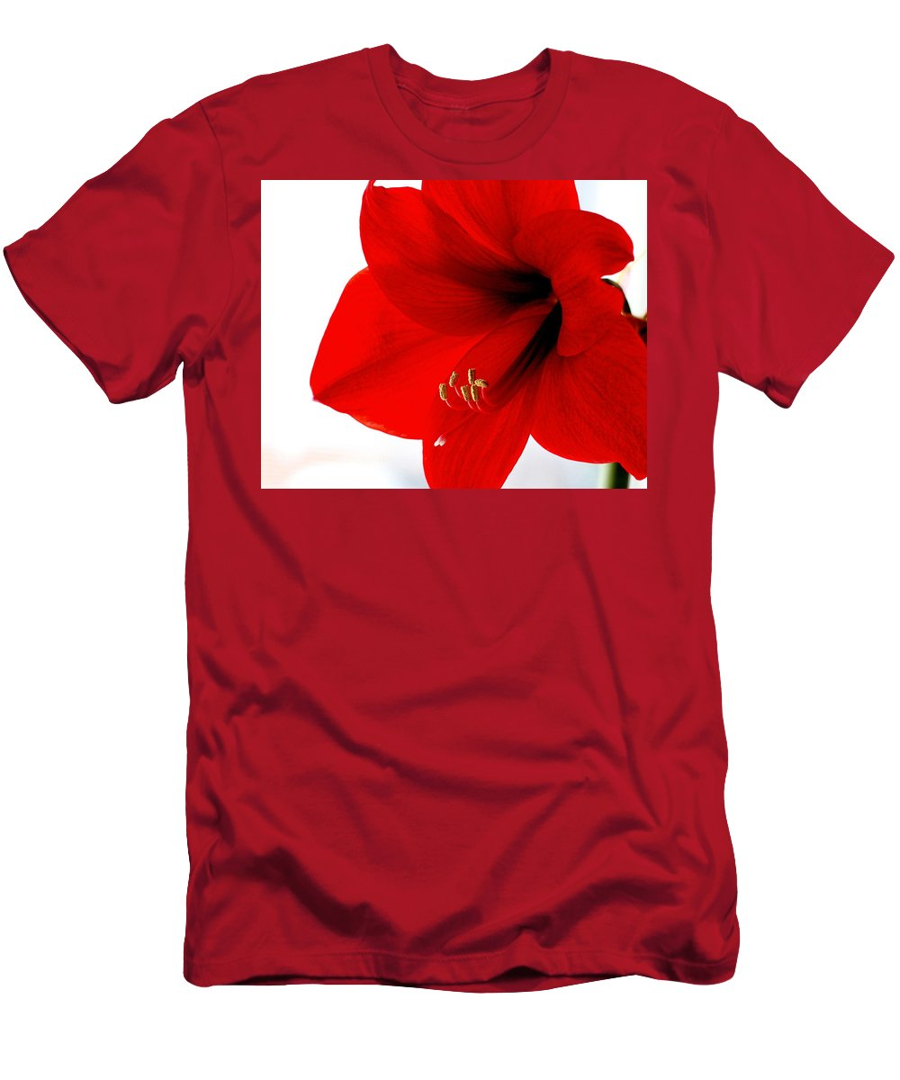 Amaryllis Men's T-Shirt (Athletic Fit) featuring the photograph Amaryllis Square by Angela Rath