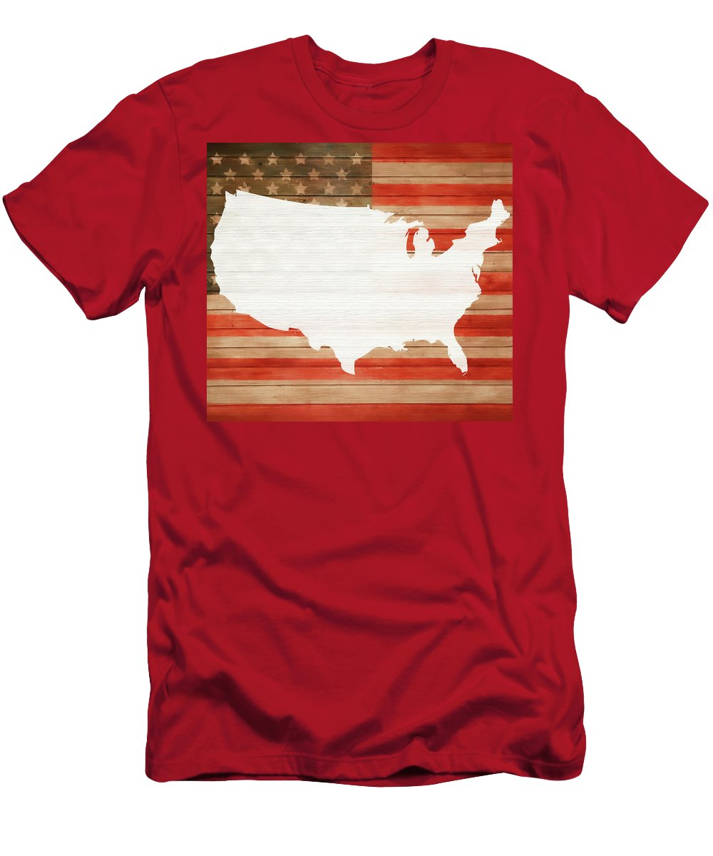 America Rustic Map On Wood Men's T-Shirt (Athletic Fit) featuring the mixed media America Rustic Map On Wood by Dan Sproul