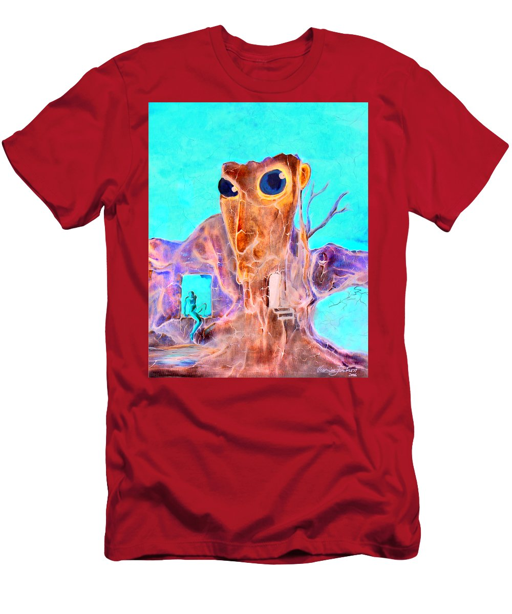 Surreal Color Eyes Structure Men's T-Shirt (Athletic Fit) featuring the painting Another Few Seconds In My Head by Veronica Jackson