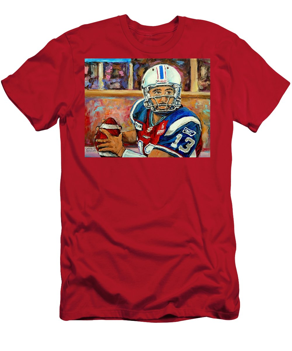 Anthony Calvillo Men's T-Shirt (Athletic Fit) featuring the painting Anthony Calvillo by Carole Spandau