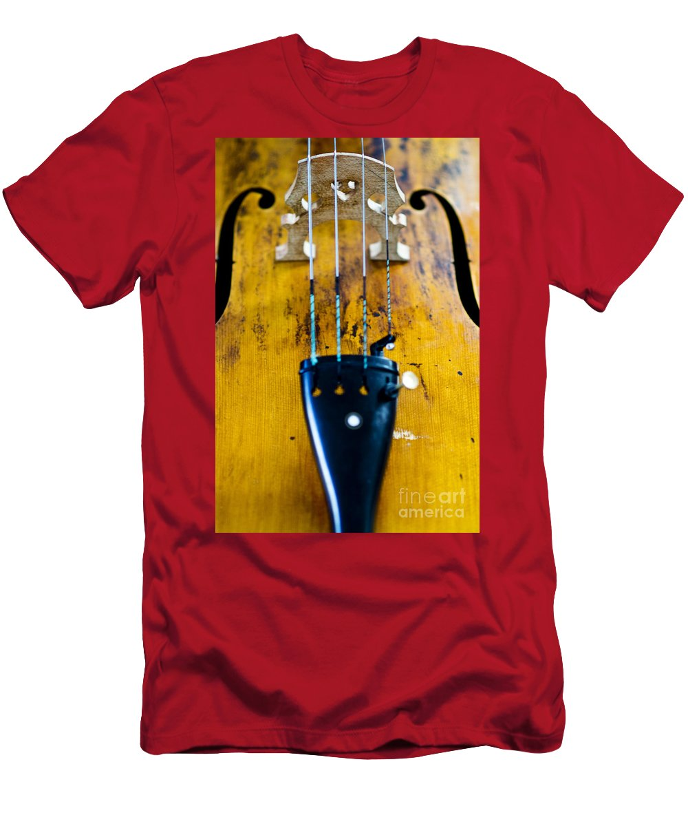 Ancient Men's T-Shirt (Athletic Fit) featuring the photograph Antique Violin by Ray Laskowitz - Printscapes