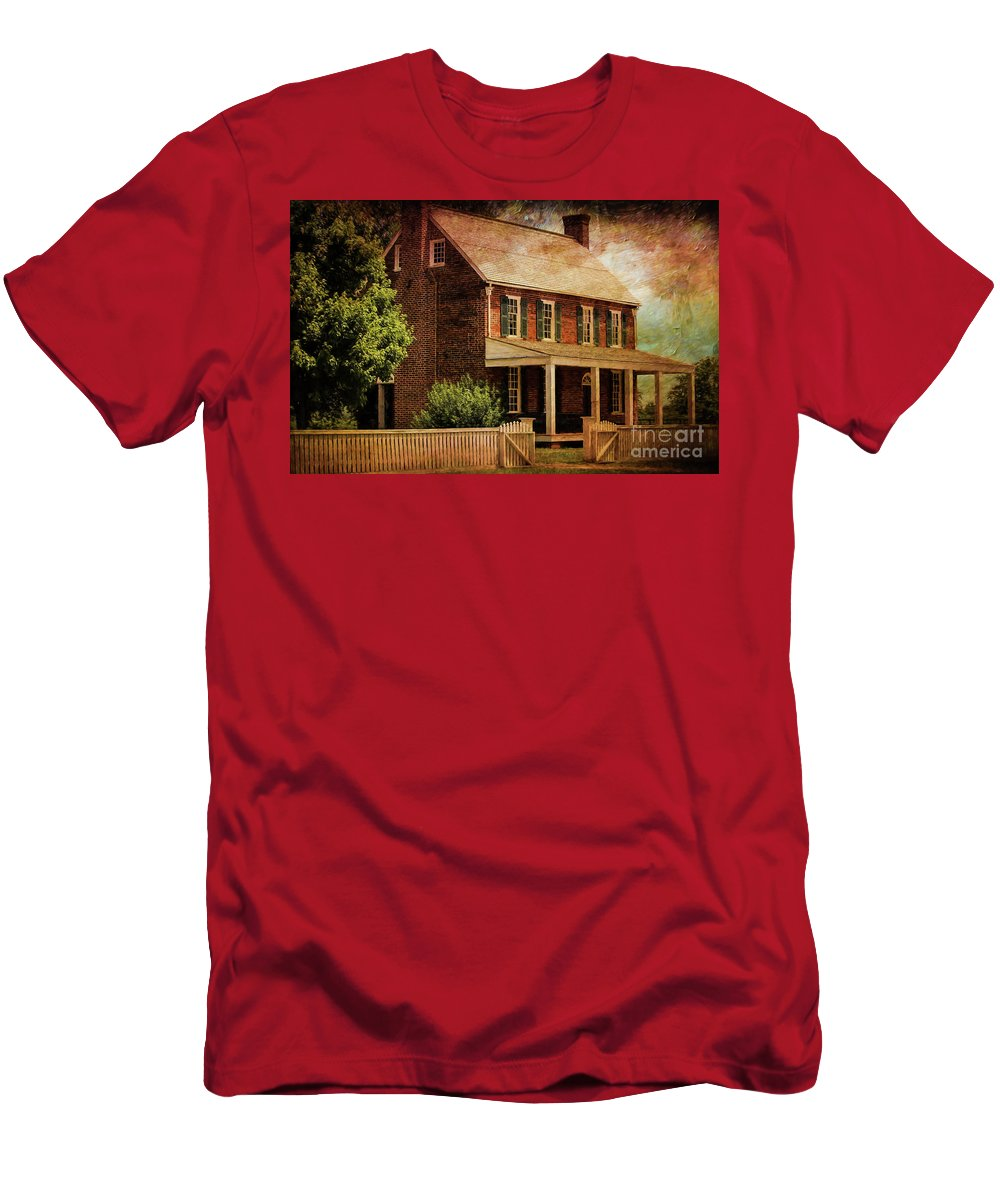 Appomattox Court House Men's T-Shirt (Athletic Fit) featuring the digital art Appomattox Court House By Liane Wright by Liane Wright