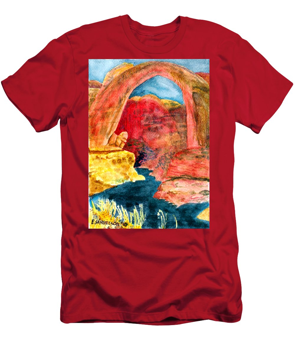Red Rocks Men's T-Shirt (Athletic Fit) featuring the painting Arizona Rainbow by Eric Samuelson