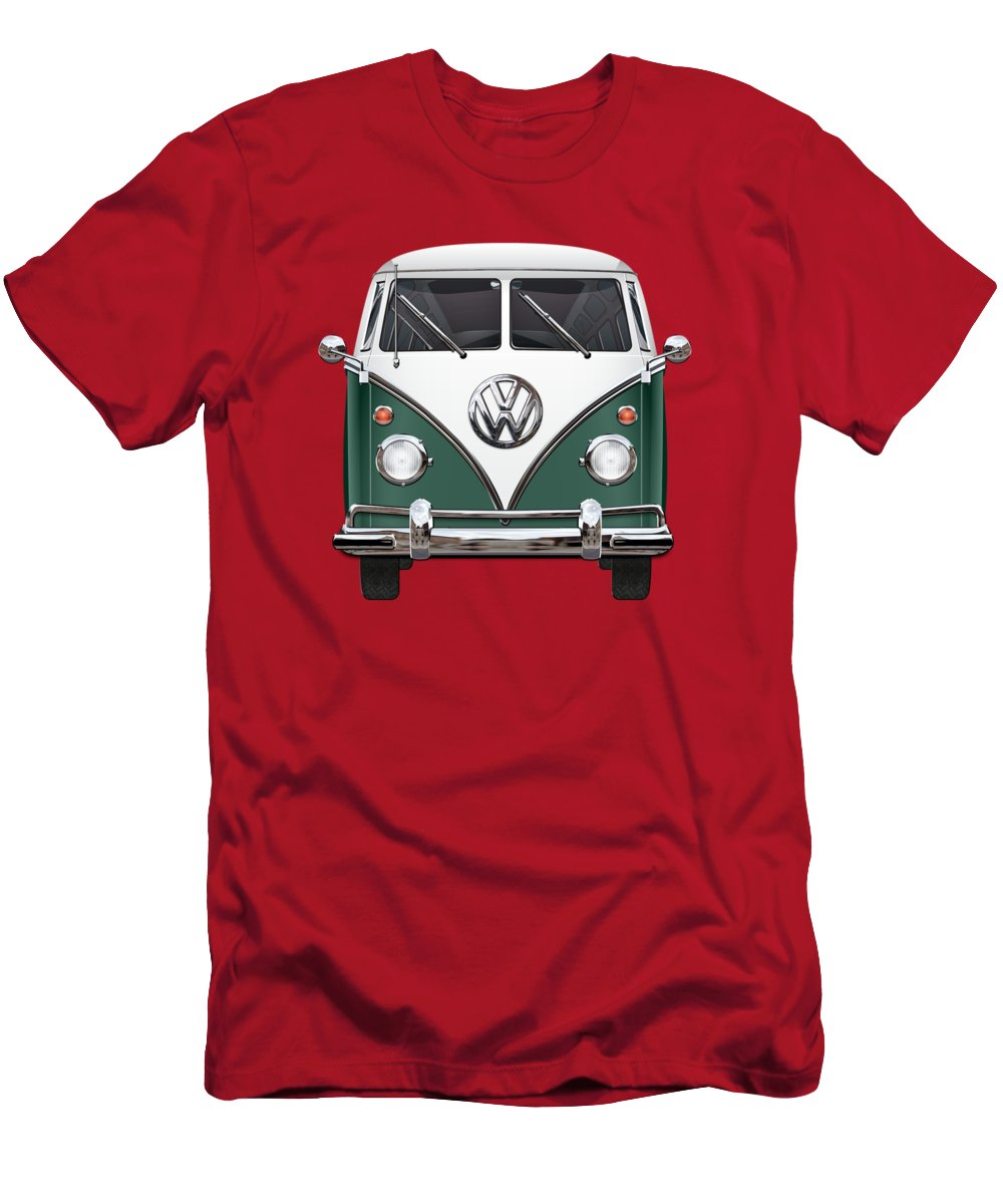 'volkswagen Type 2' Collection By Serge Averbukh Men's T-Shirt (Slim Fit) featuring the photograph Volkswagen Type 2 - Green And White Volkswagen T 1 Samba Bus Over Red Canvas by Serge Averbukh