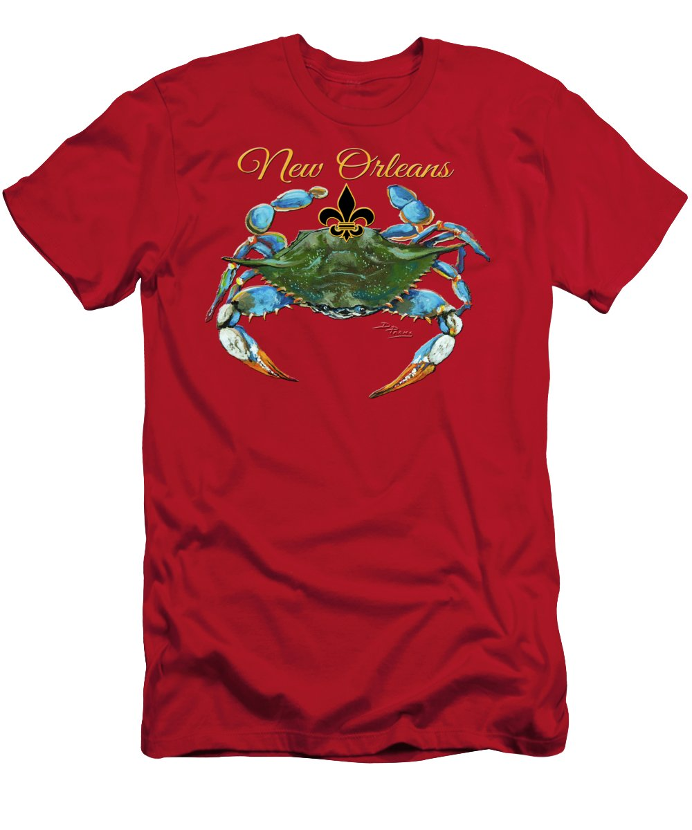 New Orleans Art Men's T-Shirt (Athletic Fit) featuring the painting Louisiana Blue On Red by Dianne Parks