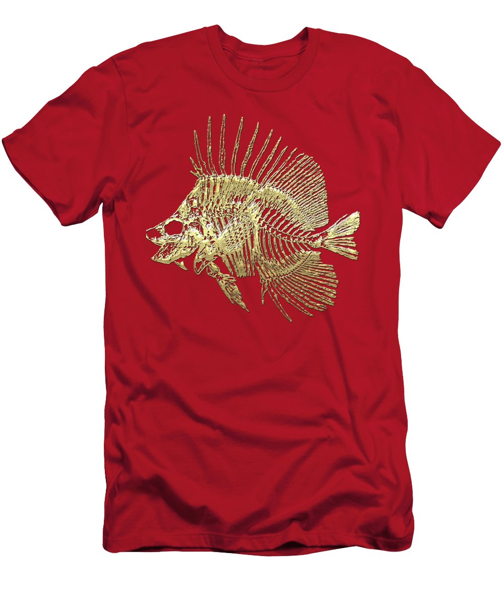 'precious Bones' Collection By Serge Averbukh Men's T-Shirt (Athletic Fit) featuring the digital art Surgeonfish Skeleton In Gold On Red by Serge Averbukh