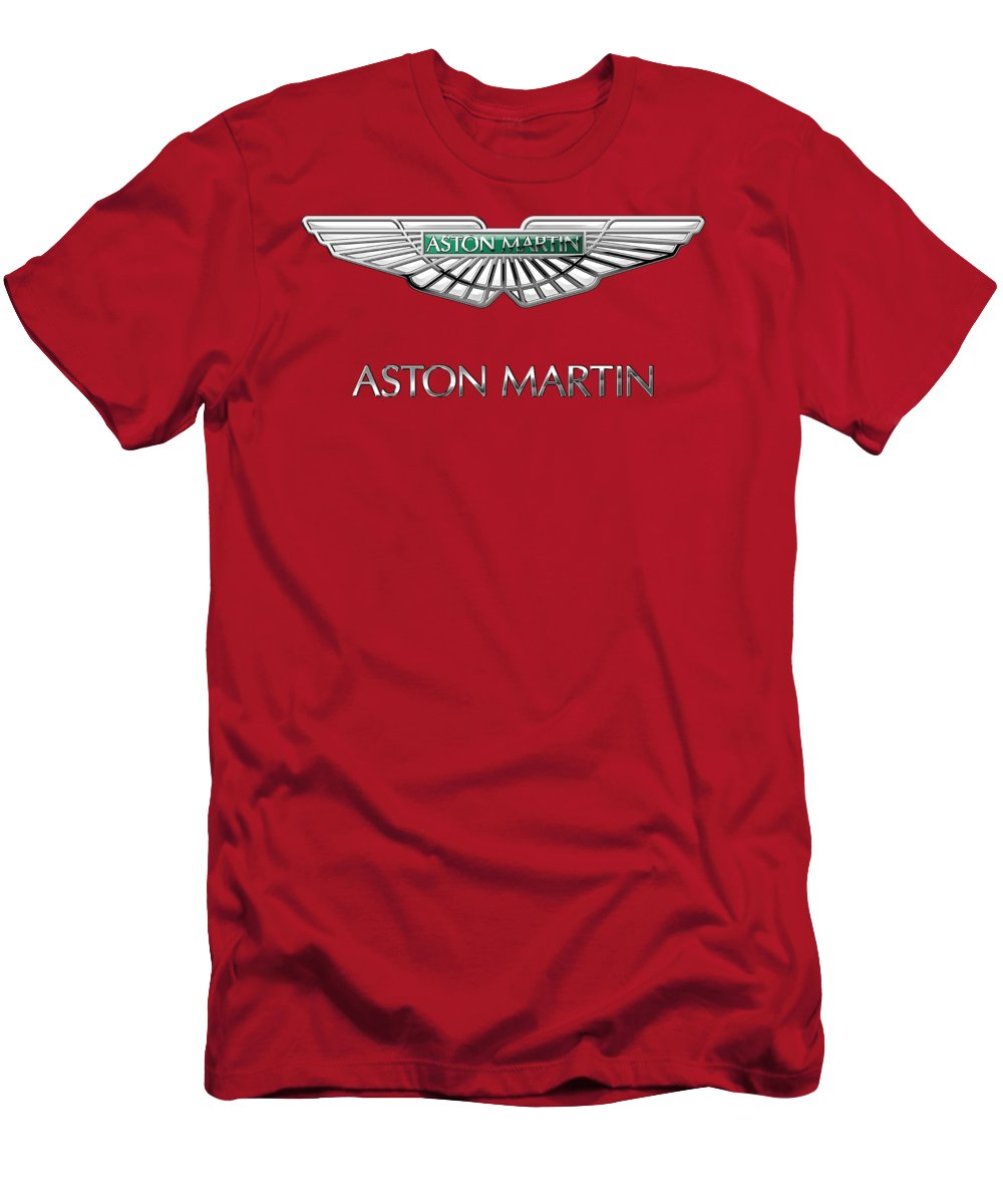 Wheels Of Fortune� Collection By Serge Averbukh Men's T-Shirt (Athletic Fit) featuring the photograph Aston Martin - 3 D Badge On Red by Serge Averbukh