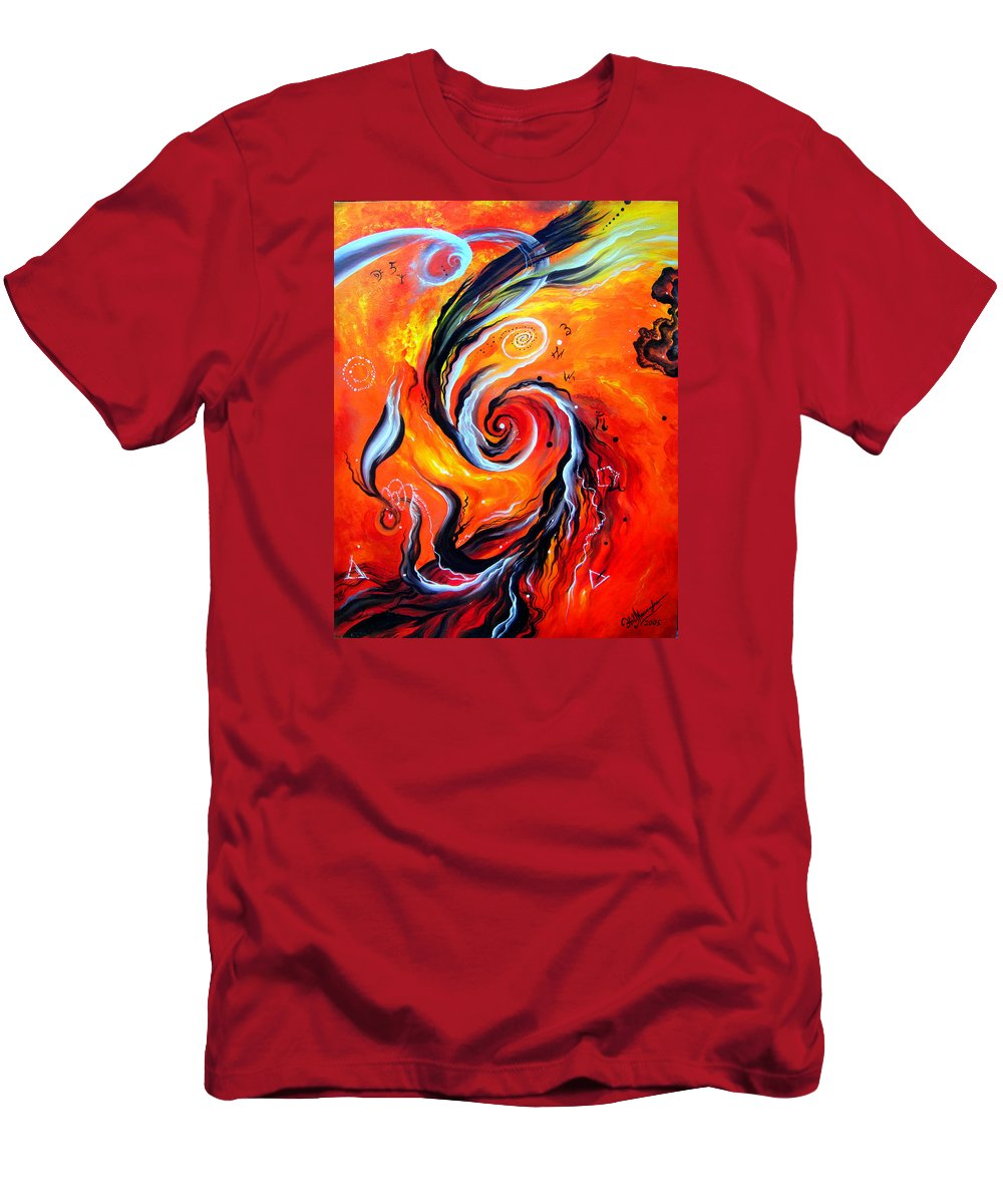 Death Men's T-Shirt (Athletic Fit) featuring the painting Astral Travels. Fire Way Out Of The Death by Sofia Metal Queen