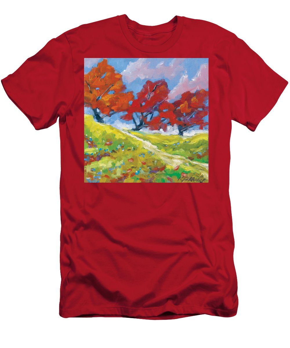 Art Men's T-Shirt (Athletic Fit) featuring the painting Automn Trees by Richard T Pranke