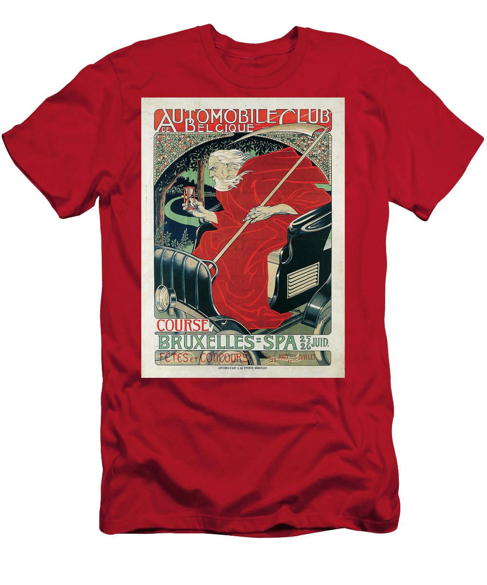 Gaudy Men's T-Shirt (Athletic Fit) featuring the painting Automobile Club Belgique. Course Bruxelles by MotionAge Designs