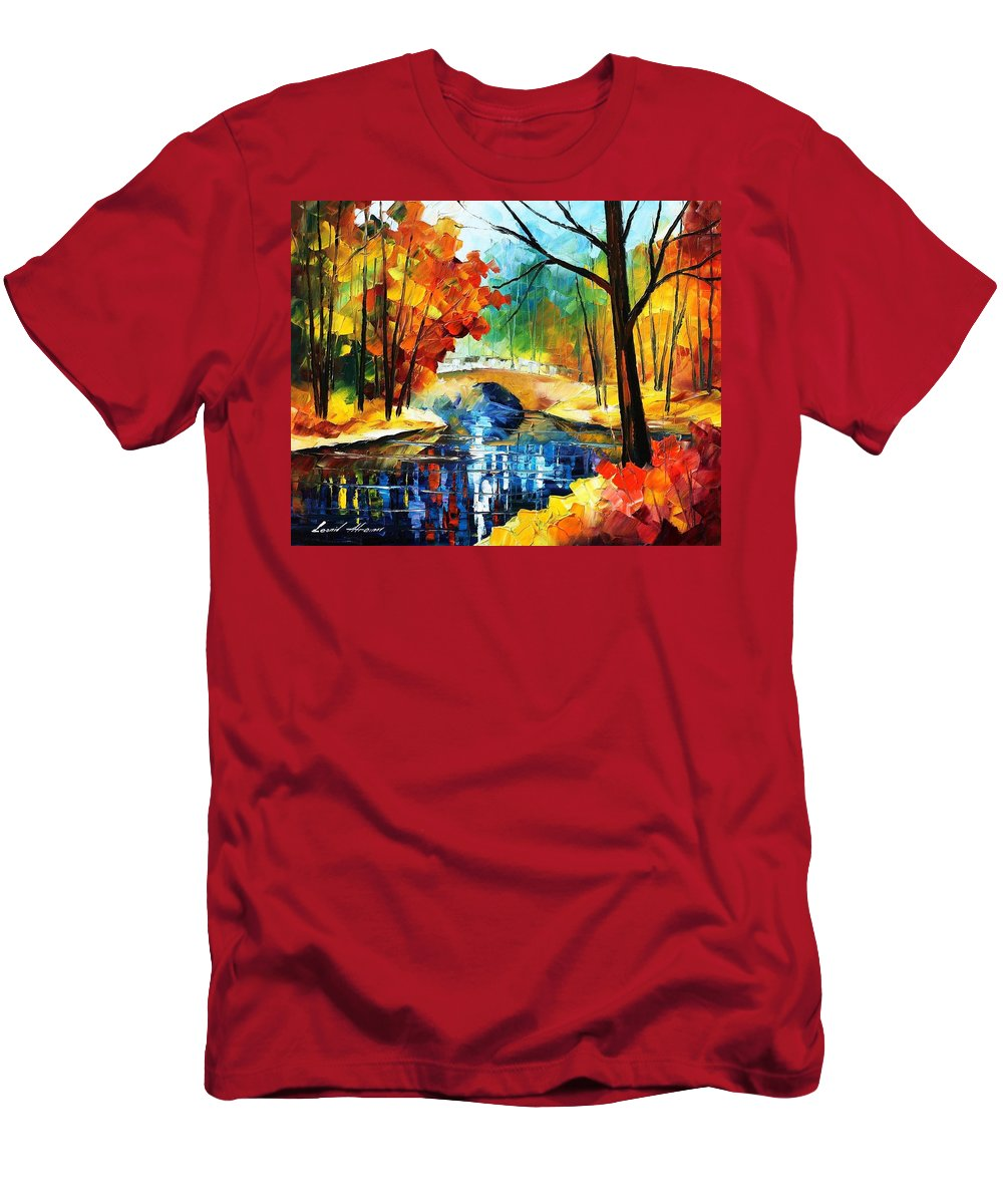 Art Gallery Men's T-Shirt (Athletic Fit) featuring the painting Autumn Calm 2 - Palette Knife Oil Painting On Canvas By Leonid Afremov by Leonid Afremov