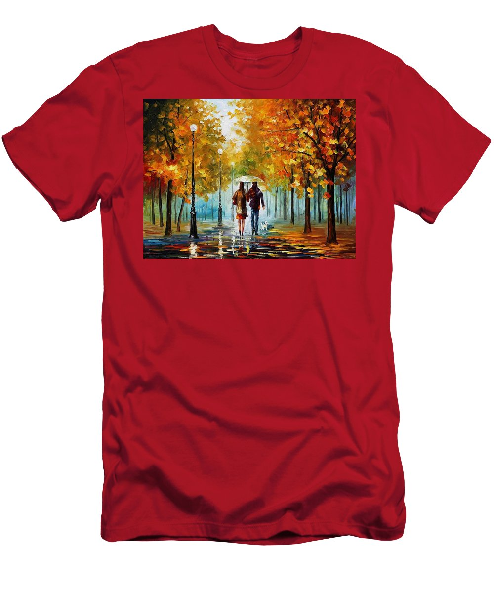 Afremov Men's T-Shirt (Athletic Fit) featuring the painting Autumn Elegy by Leonid Afremov