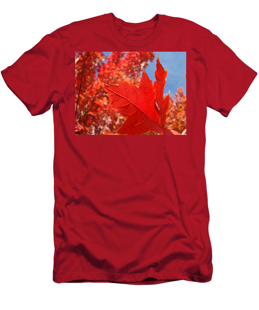 Autumn Men's T-Shirt (Athletic Fit) featuring the photograph Autumn Leaves Fall Art Red Orange Leaves Blue Sky Baslee Troutman by Baslee Troutman