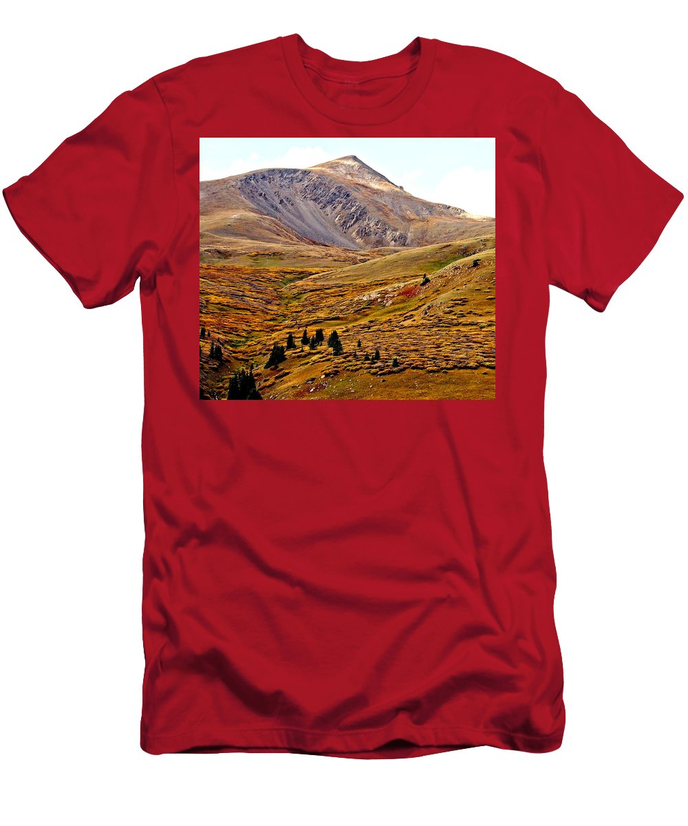Colorado Men's T-Shirt (Athletic Fit) featuring the photograph Autumn Peaks In The Rockies by Amy McDaniel