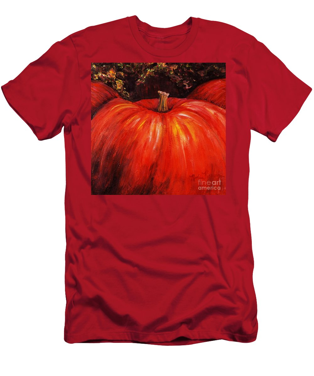 Orange Men's T-Shirt (Athletic Fit) featuring the painting Autumn Pumpkins by Nadine Rippelmeyer