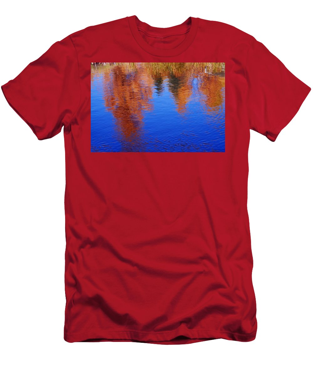 Prince Albert National Park Men's T-Shirt (Athletic Fit) featuring the photograph Autumn Reflection by Larry Ricker