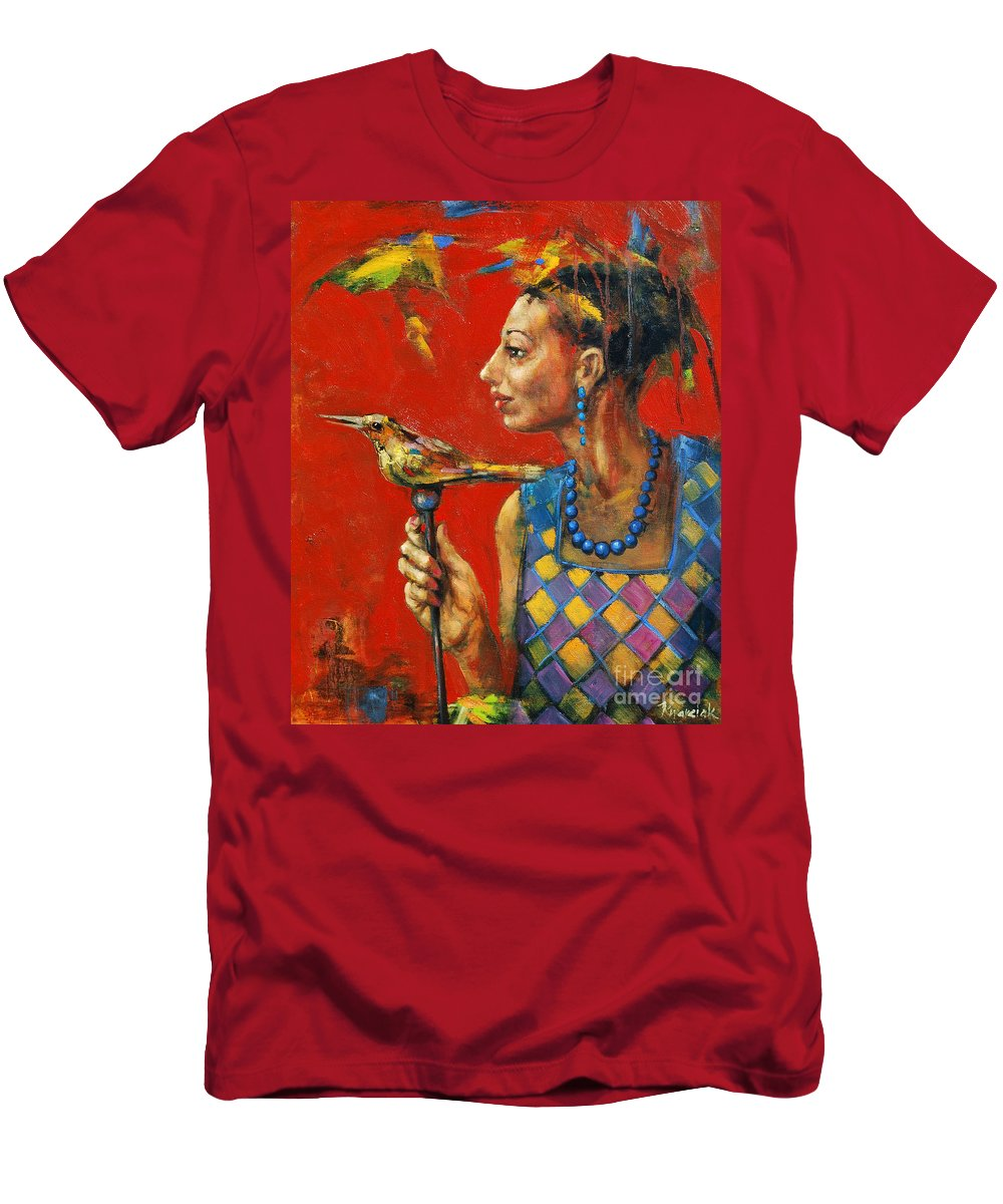Aviary Queen Men's T-Shirt (Athletic Fit) featuring the painting Aviary Queen by Michal Kwarciak
