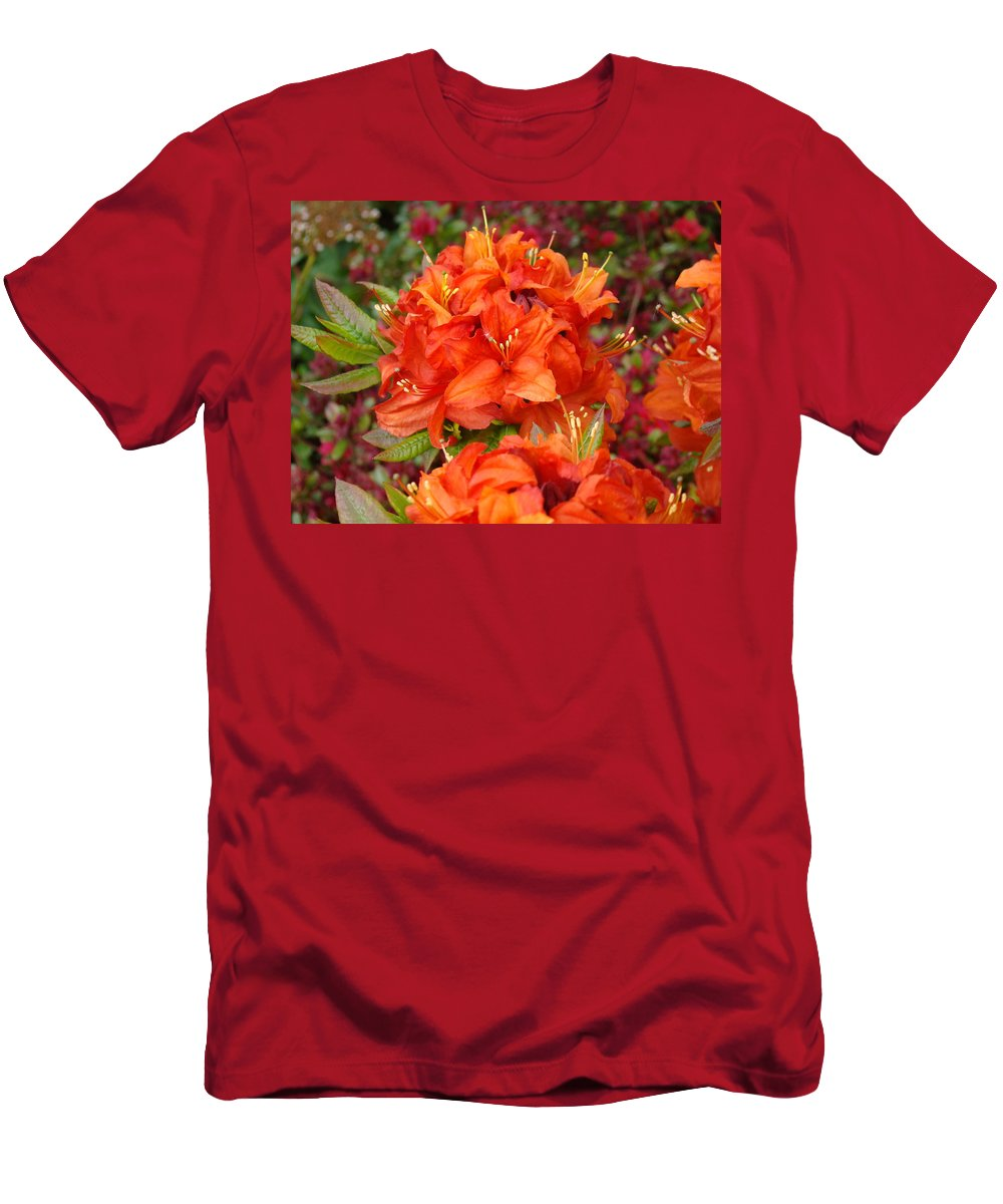 Azalea Men's T-Shirt (Athletic Fit) featuring the photograph Azaleas Rhodies Art Prints Azalea Flowers Giclee Baslee Troutman by Baslee Troutman