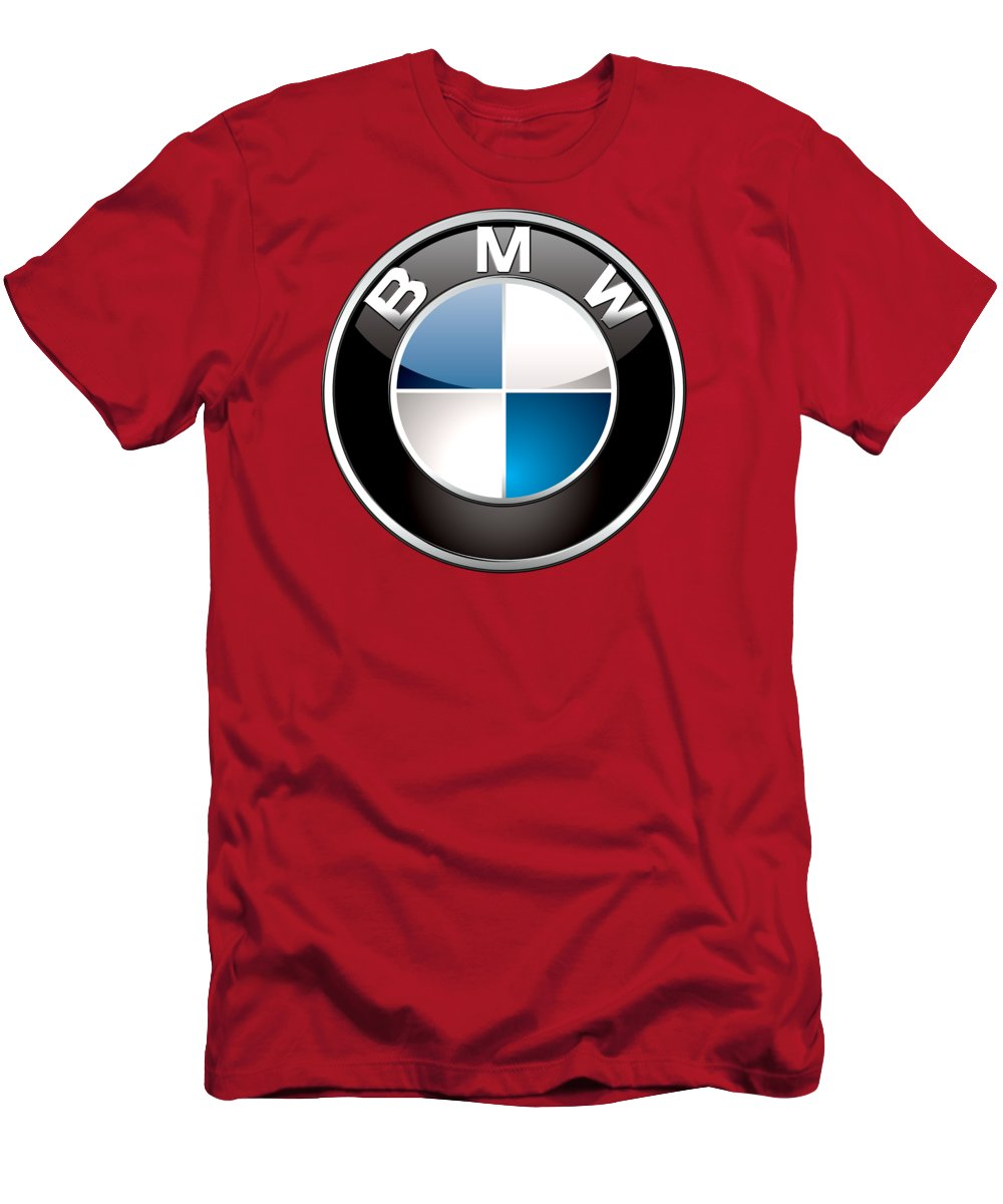'auto Badges 3d' By Serge Averbukh T-Shirt featuring the photograph B M W Badge On Red by Serge Averbukh