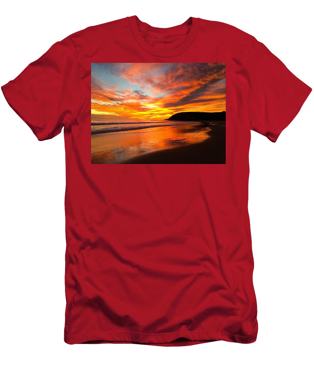 California Coast Men's T-Shirt (Athletic Fit) featuring the photograph Baby Blue And Tangerine Sky by JoJo Brown