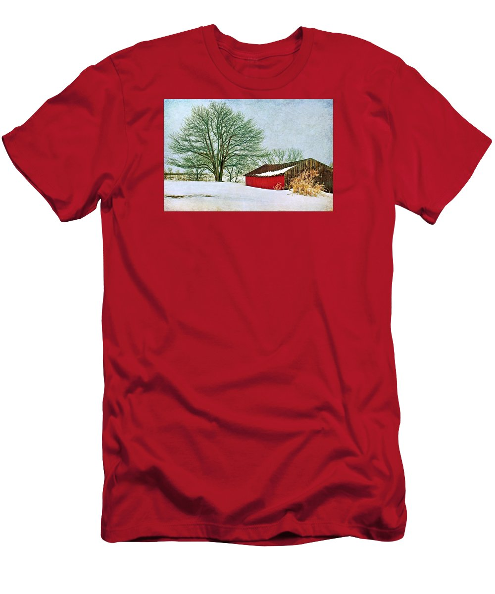 Red Barn Men's T-Shirt (Athletic Fit) featuring the photograph Back In The Day by Nikolyn McDonald