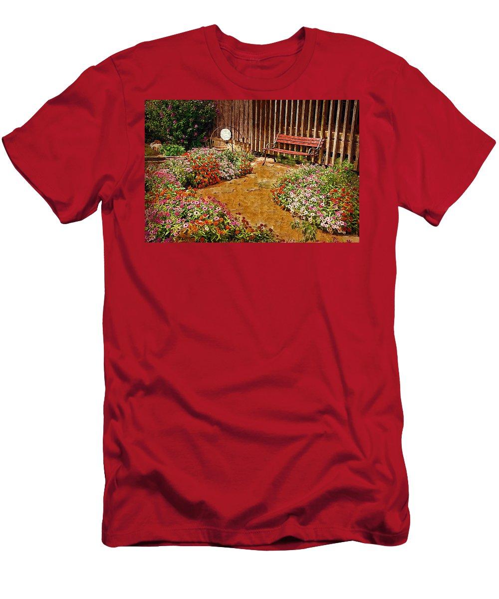 Pink Flower T-Shirt featuring the digital art Backyard Garden by Paul Bartoszek