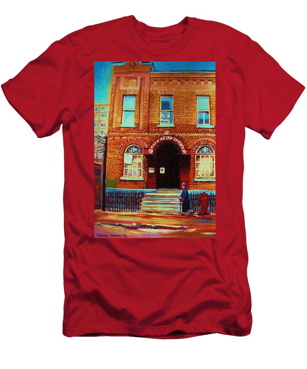Judaica Men's T-Shirt (Athletic Fit) featuring the painting Bagg Street Synagogue by Carole Spandau
