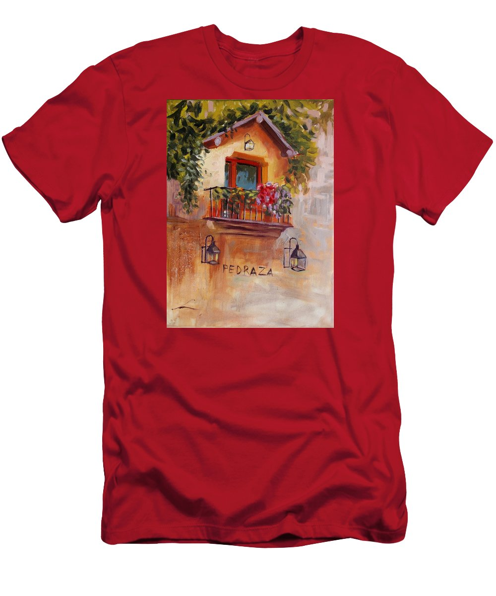 Balcony Men's T-Shirt (Athletic Fit) featuring the painting Balcony In Bloom by Elena Sokolova