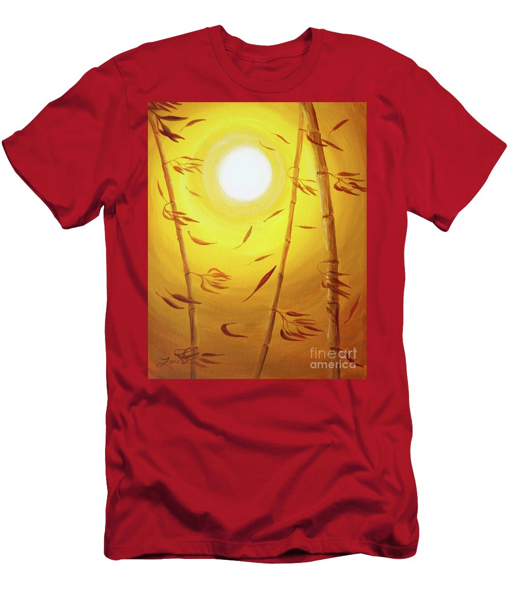 Zen Men's T-Shirt (Athletic Fit) featuring the painting Bamboo In The Wind by Laura Iverson