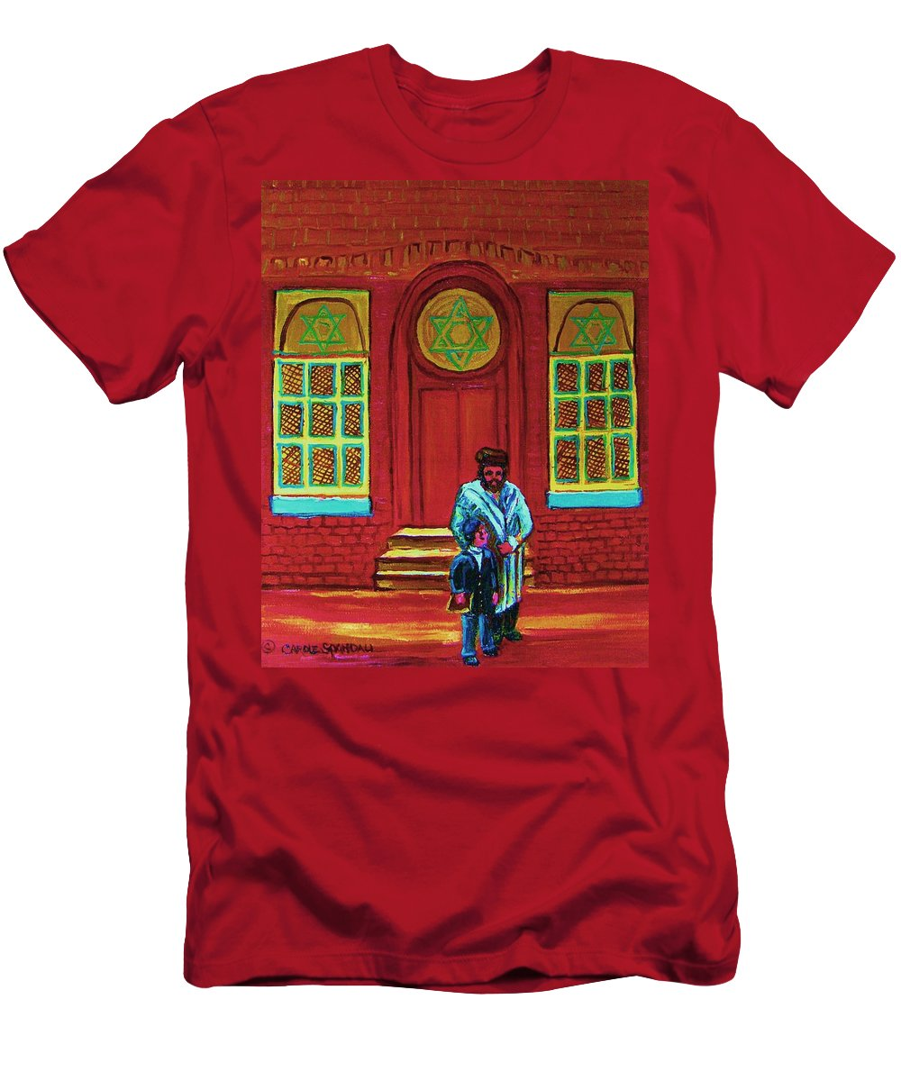 Synagogues Men's T-Shirt (Athletic Fit) featuring the painting Bar Mitzvah Lesson At The Synagogue by Carole Spandau