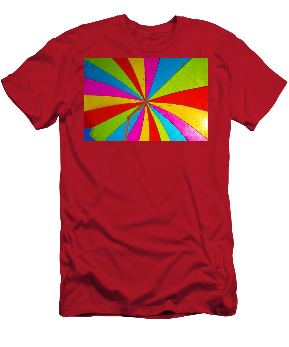 Beach Men's T-Shirt (Athletic Fit) featuring the photograph Beach Umbrella by David Lee Thompson