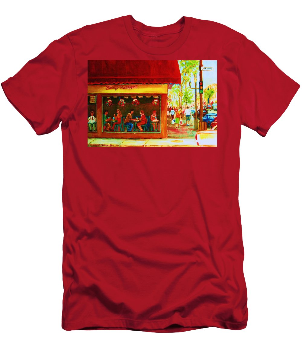 Beautys Cafe Abd Luncheonette Men's T-Shirt (Athletic Fit) featuring the painting Beautys Cafe With Red Awning by Carole Spandau