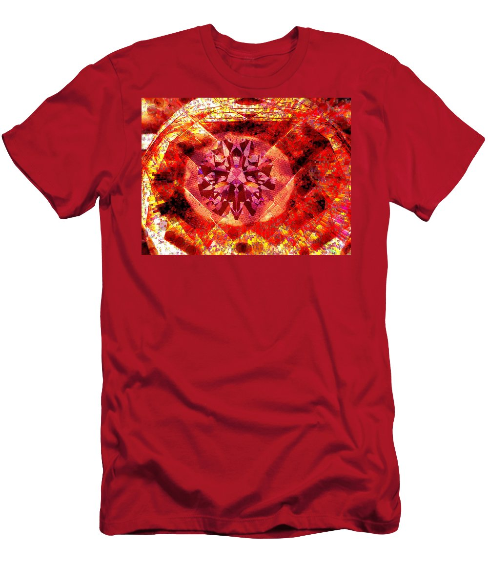 Abstract Men's T-Shirt (Athletic Fit) featuring the photograph Behold The Jeweled Eye Of Blood by Seth Weaver