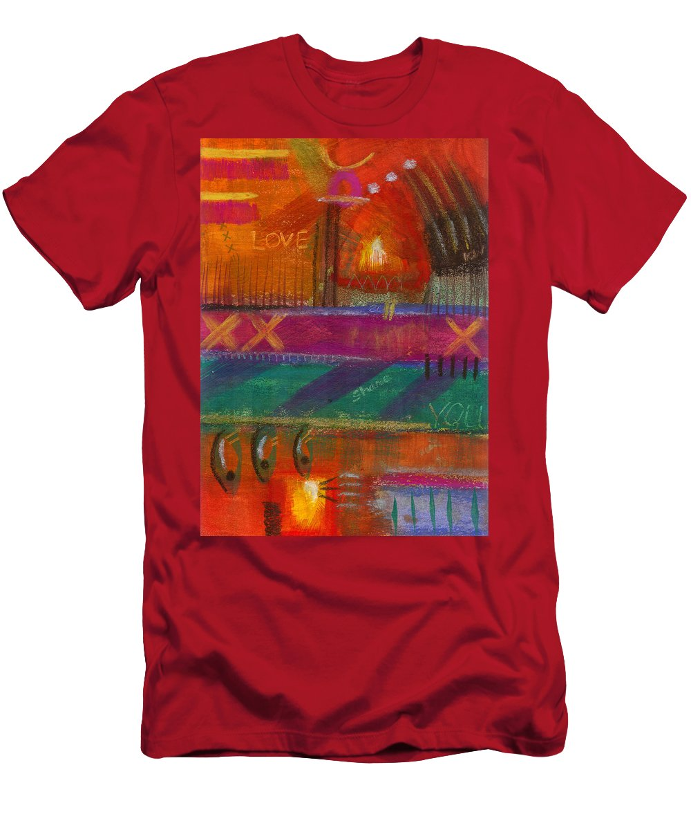 Love Men's T-Shirt (Athletic Fit) featuring the painting Being In Love by Angela L Walker