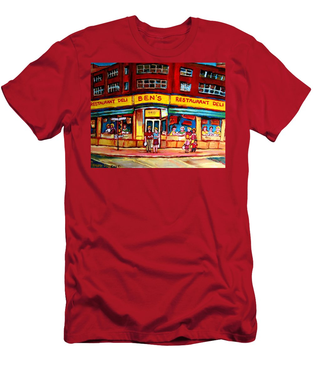 Bens Famous Restaurant Men's T-Shirt (Athletic Fit) featuring the painting Ben's Delicatessen - Montreal Memories - Montreal Landmarks - Montreal City Scene - Paintings by Carole Spandau