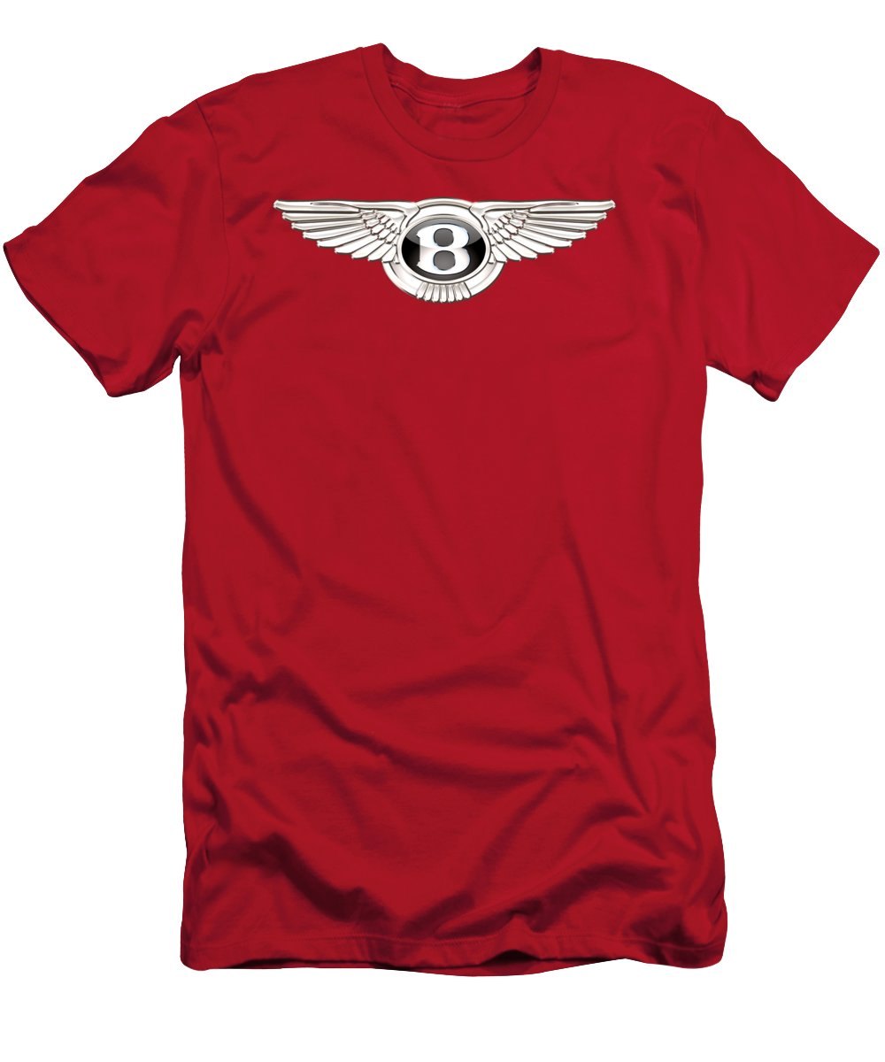 Wheels Of Fortune� Collection By Serge Averbukh T-Shirt featuring the photograph Bentley 3 D Badge on Red by Serge Averbukh