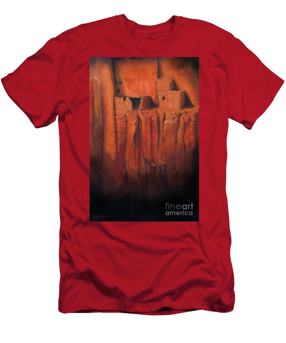 Anasazi Men's T-Shirt (Athletic Fit) featuring the painting Betatakin Ruins by Jerry McElroy